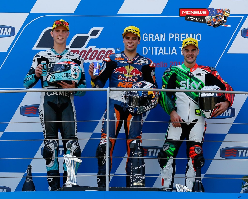 Red Bull KTM Ajo's Miguel Oliveira claimed a career first Moto3 victory, and became the first Portuguese winner in Grand Prix history with his victory at Mugello 2015
