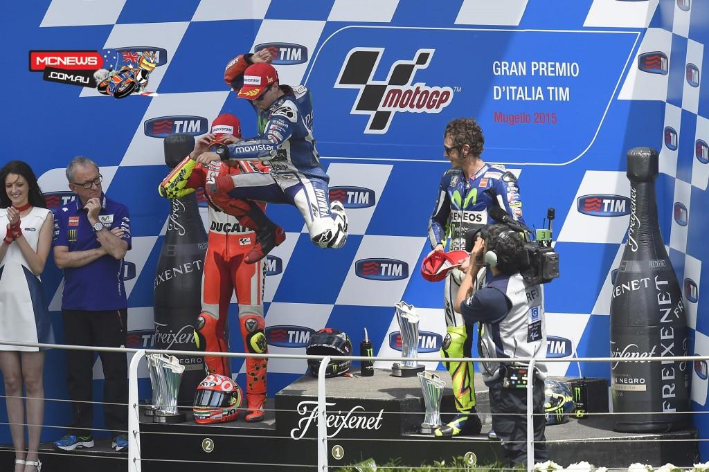 Jorge Lorenzo jumps for joy after cruising to third straight victory - Mugello MotoGP 2015
