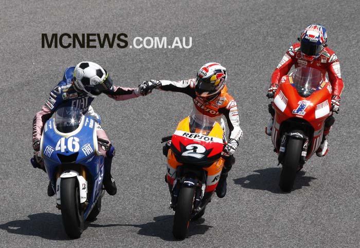 MotoGP 2008 - Catalunya - Valentino Rossi, Dani Pedrosa and Casey Stoner