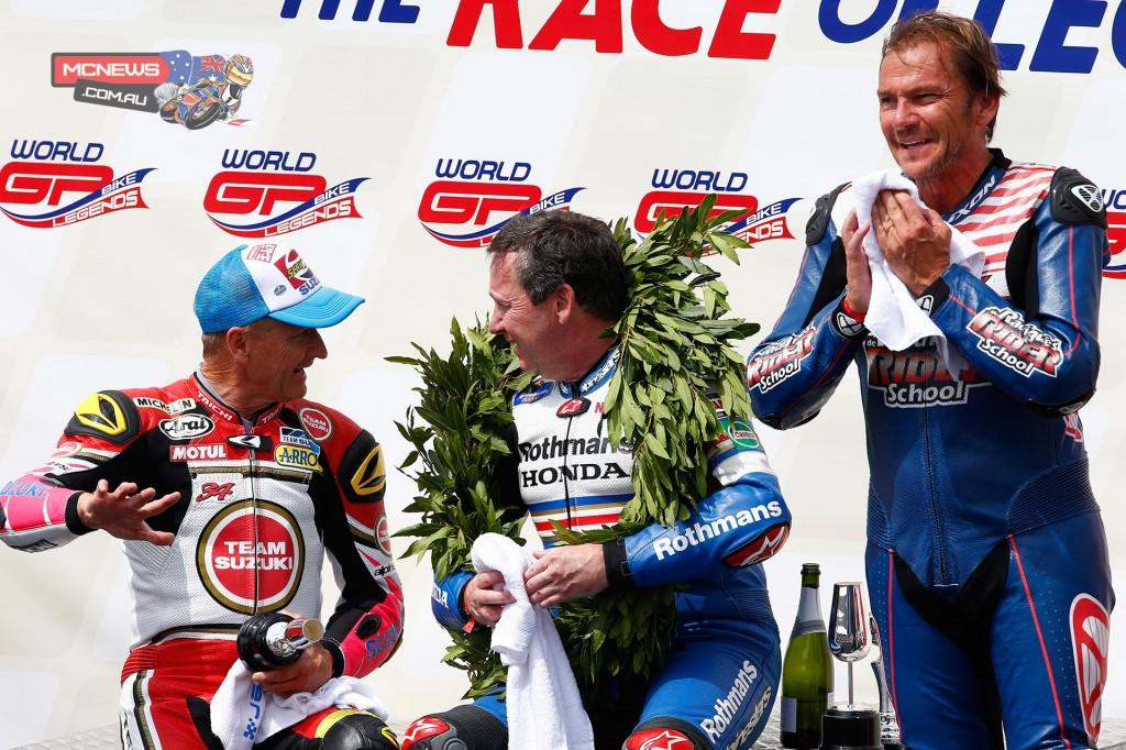 World GP Bike Legends 2015 - Race Two Podium - 1st Freddie SPENCER – Yamaha YZR500 OW48R - 2nd Kevin SCHWANTZ – Suzuki RGV500 XR84 - 3rd Didier DE RADIGUES – Suzuki RGV500 XR88