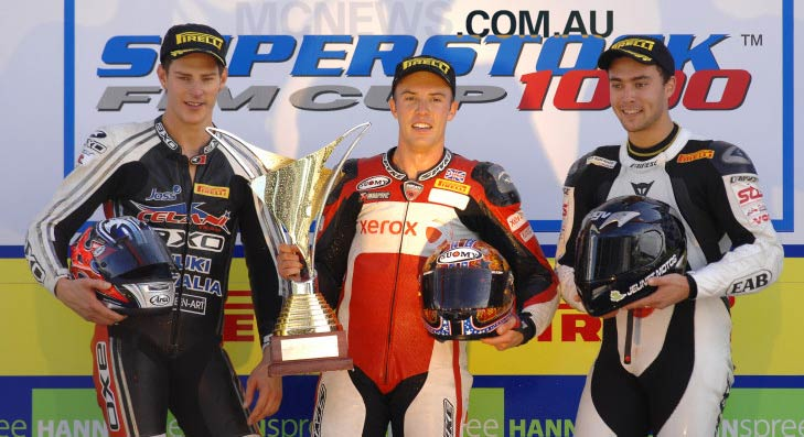 FIM Superstock 1000 Podium Portimao 2008 - Brendan Roberts, Chris Seaton and Maxime Berger