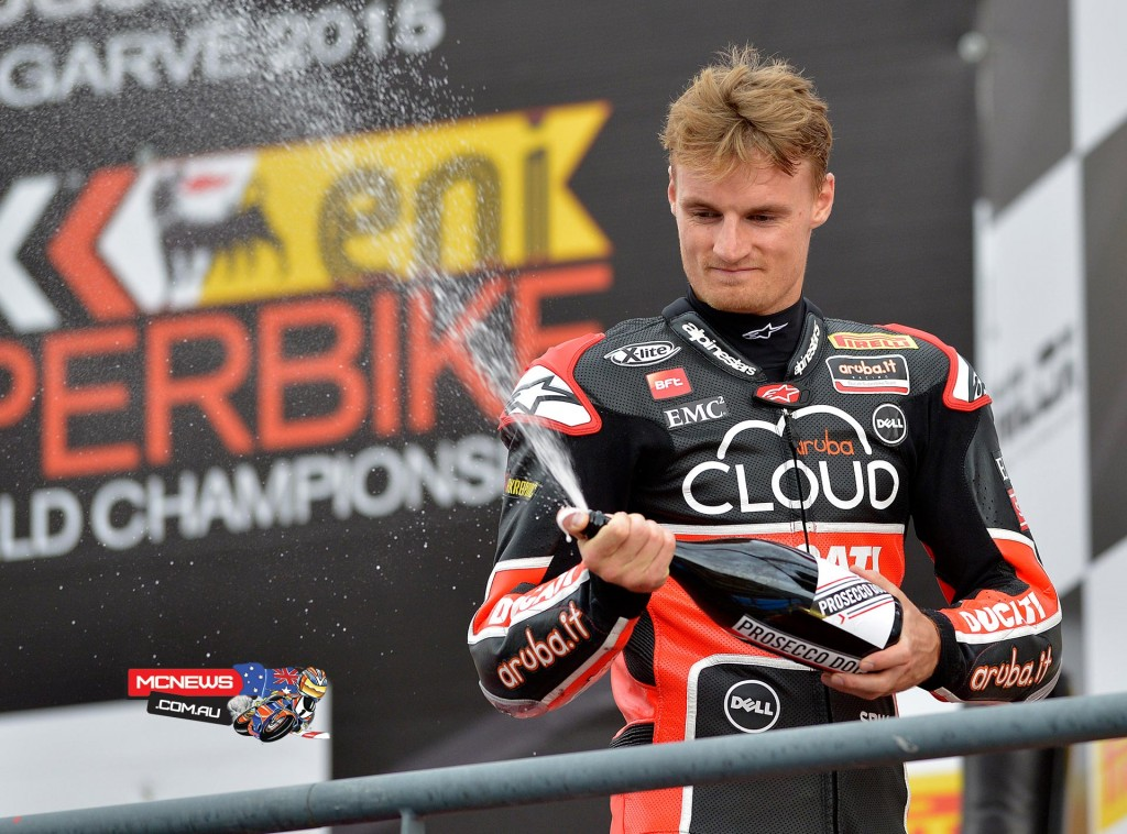 Chaz Davies on the podium in race two