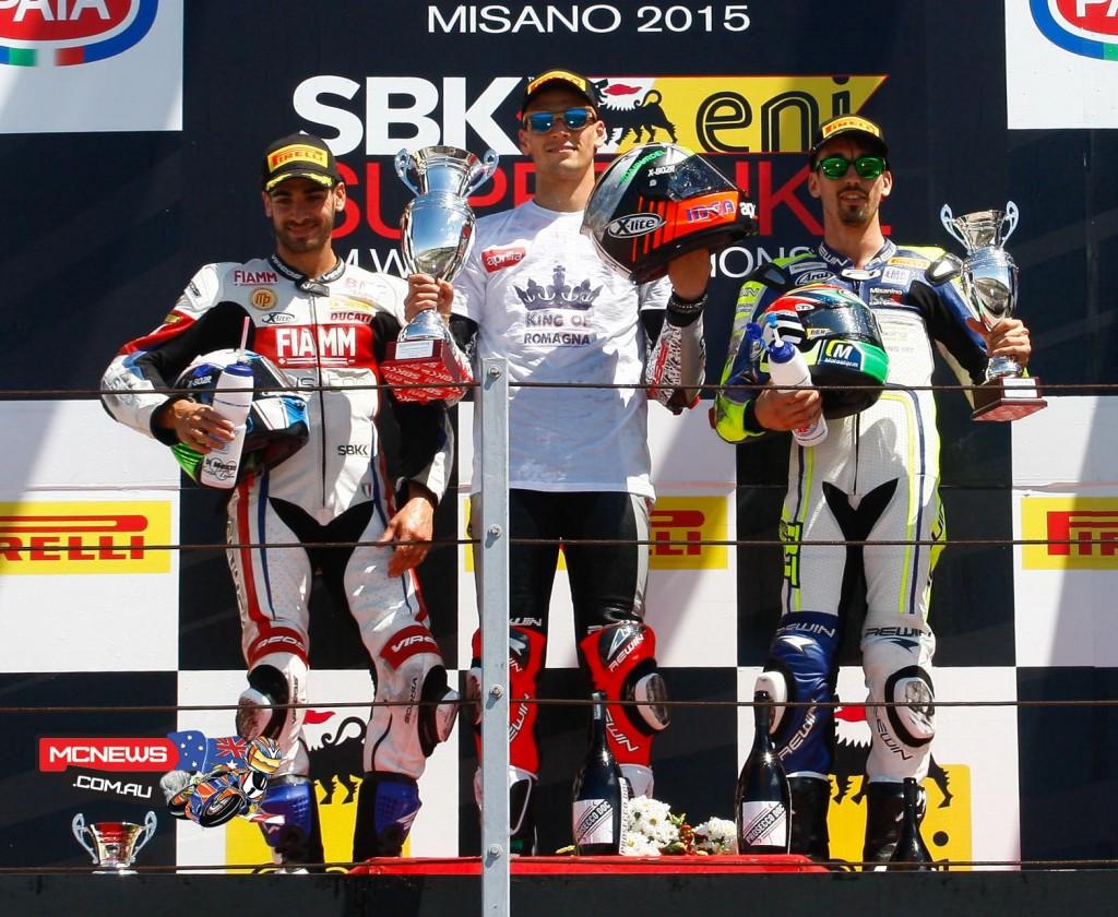 Superstock 1000 Podium - Misano 2015  /2- Raffaele De Rosa (ITA)/ 1- Lorenzo Savadori (ITA) / 3- Roberto Tamburini (ITA)