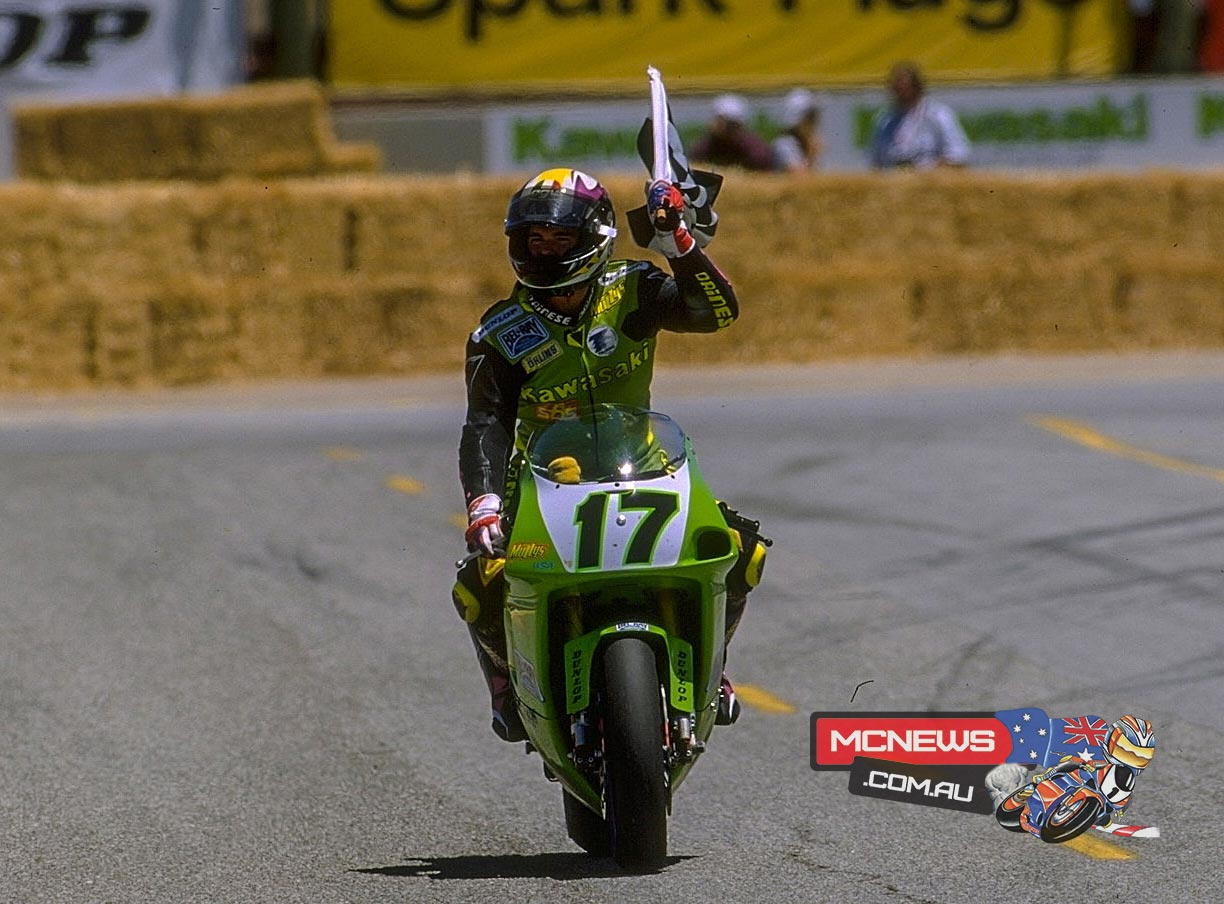 Anthony Gobert (AUS) on the cool-down lap after his race one victory at Laguna Seca (1995)