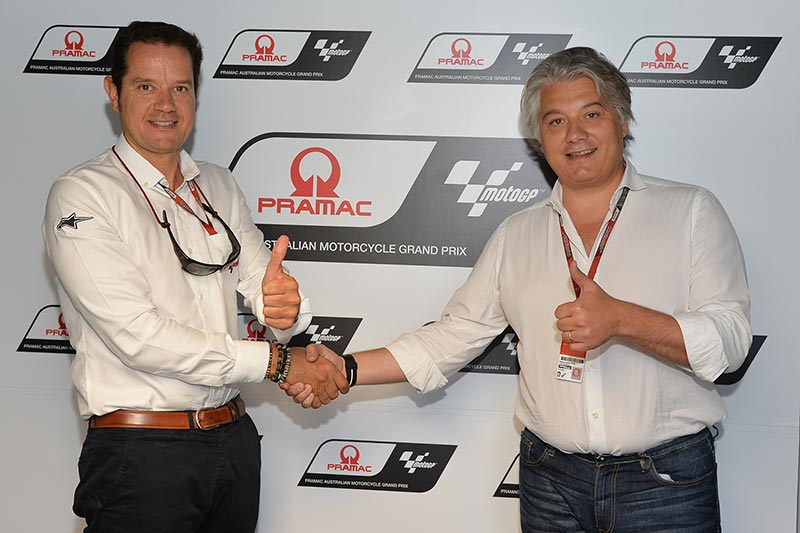 Pau Serracanta, Managing Director Commercial Area of Dorna Sports and Paolo Campinoti, Pramac CEO