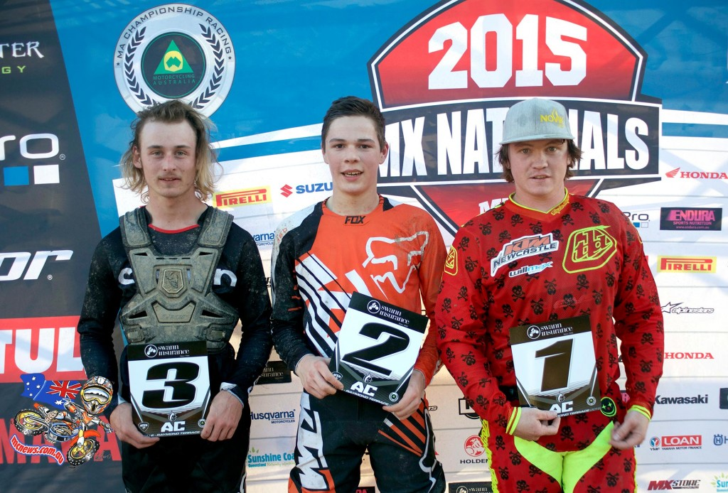 MX Nationals 2015 - Round Six - Raymond Terrace - Amateur Podium - (L-R) 3rd - Mitchell Moylan ; 2nd - Elias Dukes and 1st - Mitchell Bowen