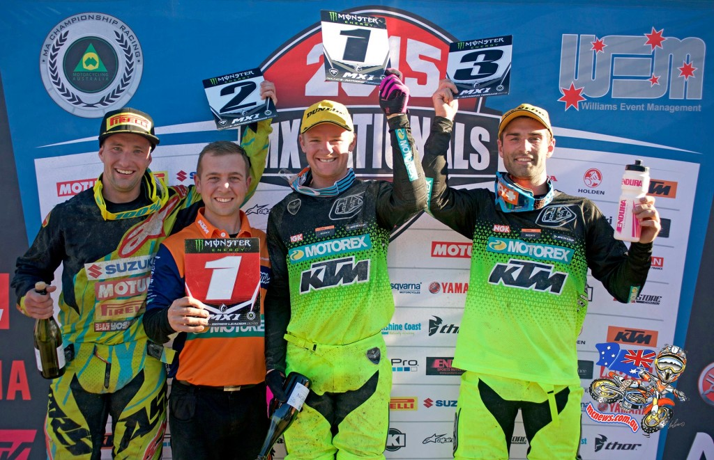 MX Nationals 2015 - Round Six - Raymond Terrace - MX1 Podium: (L-R) 2nd - Matt Moss ; 1st - Kirk Gibbs and 3rd - Luke Styke