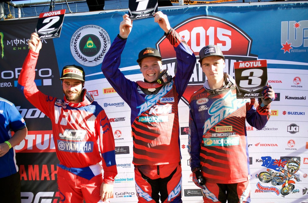 MX Nationals 2015 - Round Six - Raymond Terrace - MX2 Podium: (L-R) 2nd - Jay Wilson ; 1st - Caleb Ward and 3rd - Dylan Wills