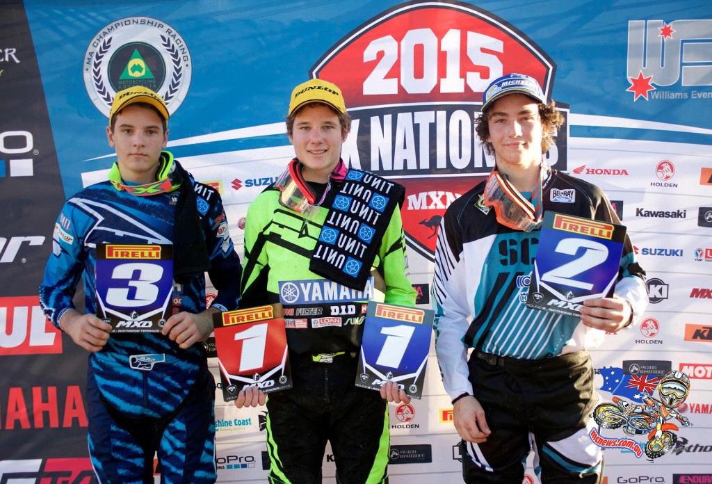 MX Nationals 2015 - Round Six - Raymond Terrace - MXD Podium: (L-R) 3rd -Mitchell Evans ; 1st - Wilson Todd and 2nd - Connor Tierney