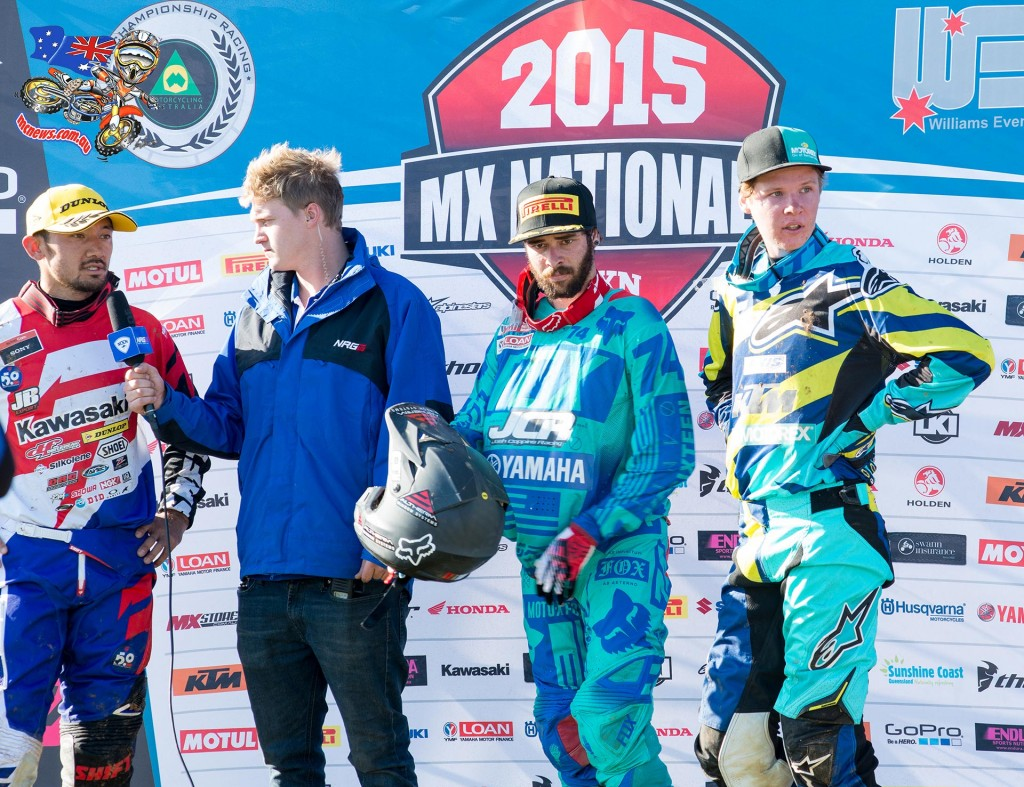 MX Nationals 2015 - Shepparton - Caleb Ward overall winner ahead of Kawasaki mounted Takeshi Katsuya iand JCR Yamaha's Jay Wilson who rounded out the podium in third