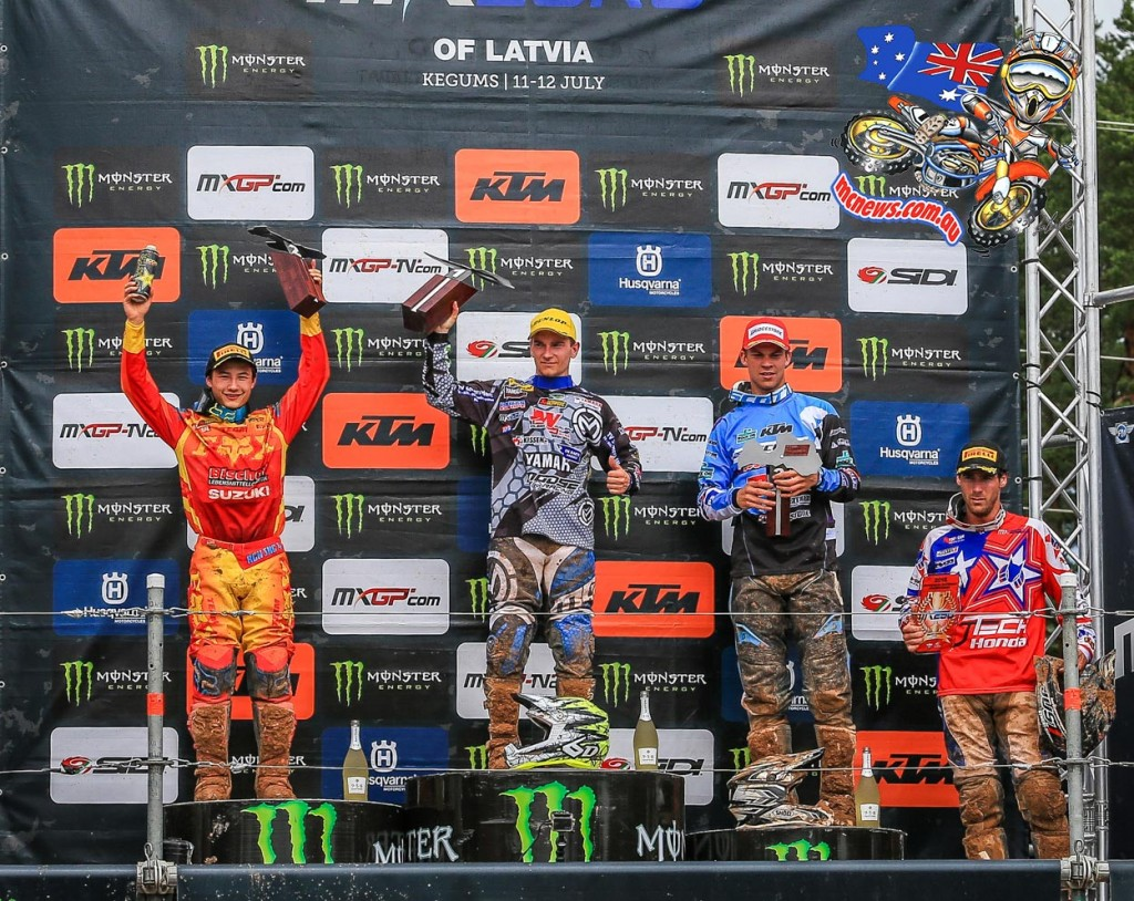 MXGP - 2015 - Rnd 12 - Kegums, Latvia - EMX250 - Yamaha's Damon Graulus stood on the top step of the podium for the first time in his career while Rockstar Energy Suzuki Europe's Brian Hsu and Bodo Schmidt Motorsport's Thomas Kjer Olsen rounded out the top three.