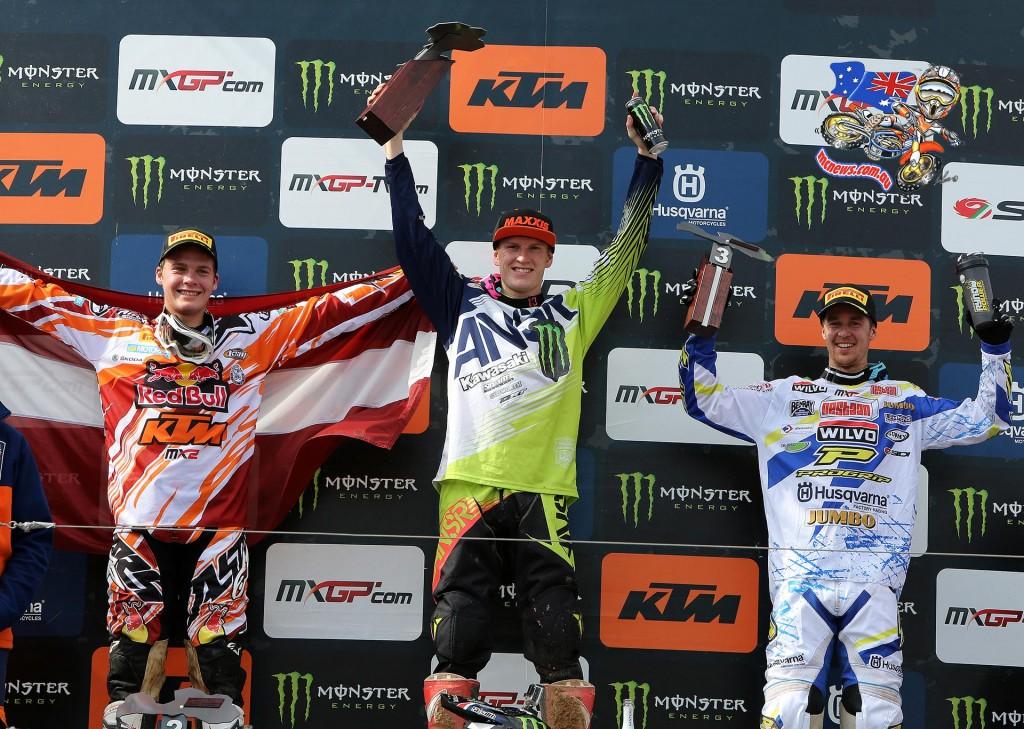 MXGP - 2015 - Rnd 12 - Kegums, Latvia - MX2 Podium - 1. Max Anstie (GBR, KAW), 50 points; 2. Pauls Jonass (LAT, KTM), 44 p.; 3. Harri Kullas (FIN, HUS), 36 p