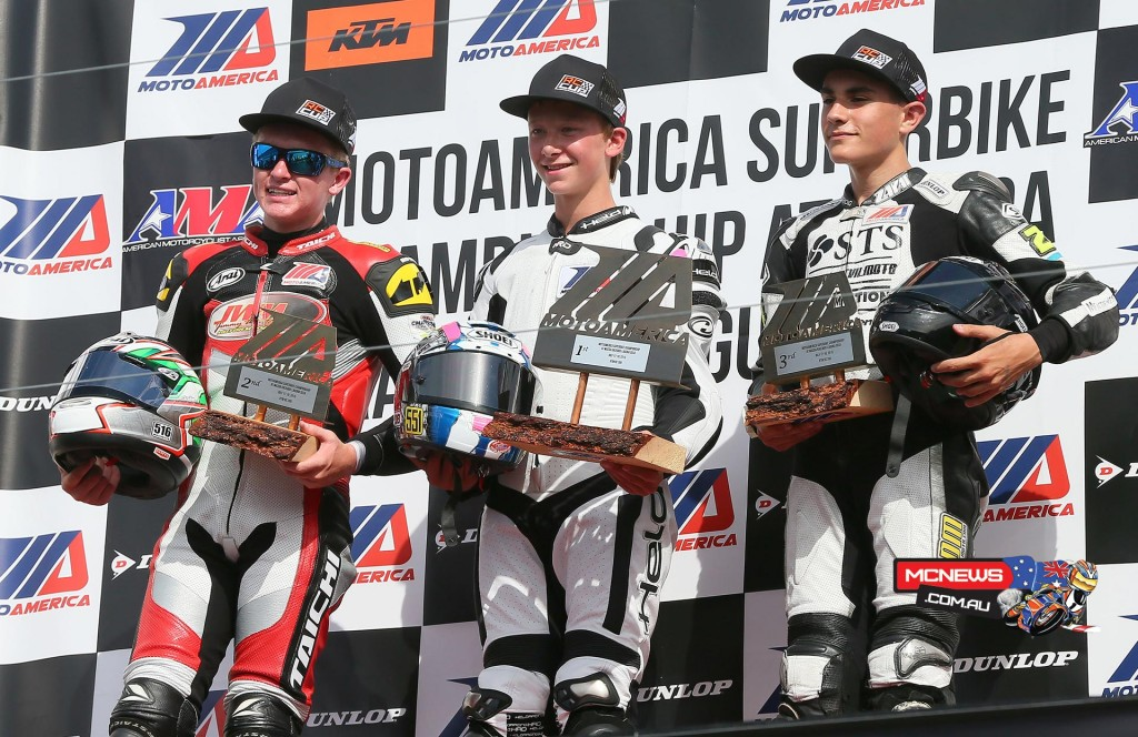 Anthony Mazziotto III, Braeden Ortt and Xavier Zayat celebrate after the KTM RC 390 Cup final on Saturday in Monterey. Photography by Brian J Nelson.