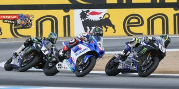 Cameron Beaubier (6) beat Roger Hayden (95) and Josh Hayes (1) to the line in race two of MotoAmerica Superbike action at Mazda Raceway Laguna Seca on Sunday. Photography by Brian J. Nelson.