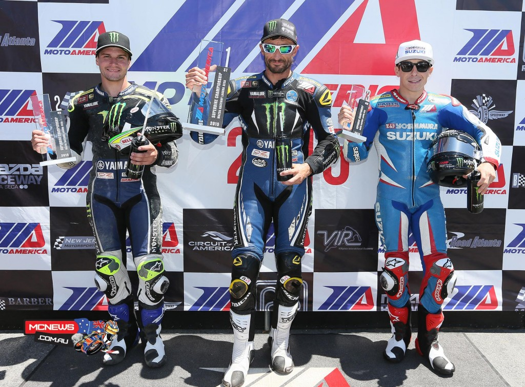 Cameron Beaubier, Josh Hayes and Roger Hayden after Superpole at Mazda Raceway Laguna Seca. Photography By Brian J. Nelson.