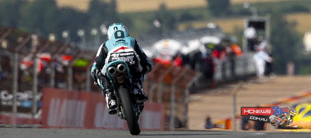Leopard Racing rider Danny Kent laps the Sachsenring over 0.5 sec faster than the rest of the pack to take pole.