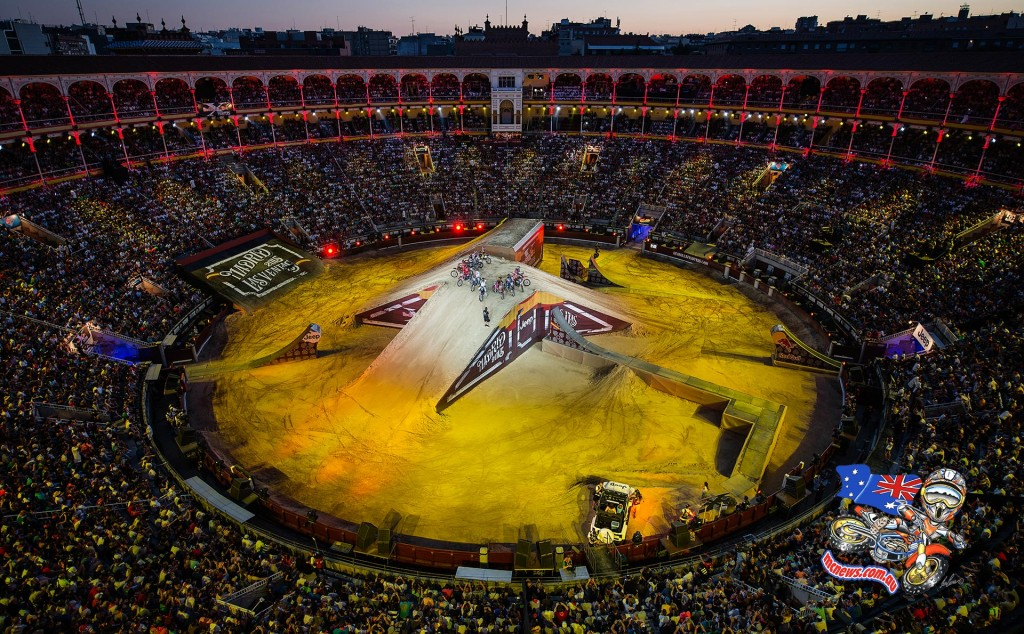 The Plaza de Toros de Las Ventas seen during the finals of the third stage of the Red Bull X-Fighters World Tour in Madrid, Spain on July 10, 2015.