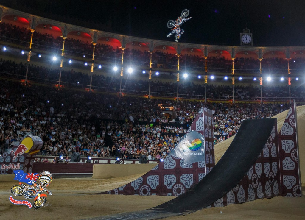 Levi Sherwood of New Zealand performs during the finals of the third stop of the Red Bull X-Fighters World Tour at Plaza de Toros de Las Ventas in Madrid, Spain on July 10 , 2015.