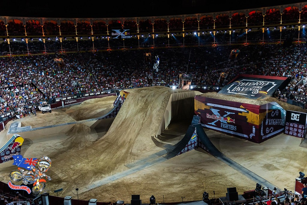 Australian Rob Adelberg performs during the finals of the third stop of the Red Bull X-Fighters World Tour at the Plaza de Toros de Las Ventas, in Madrid, Spain on July 10, 2015.