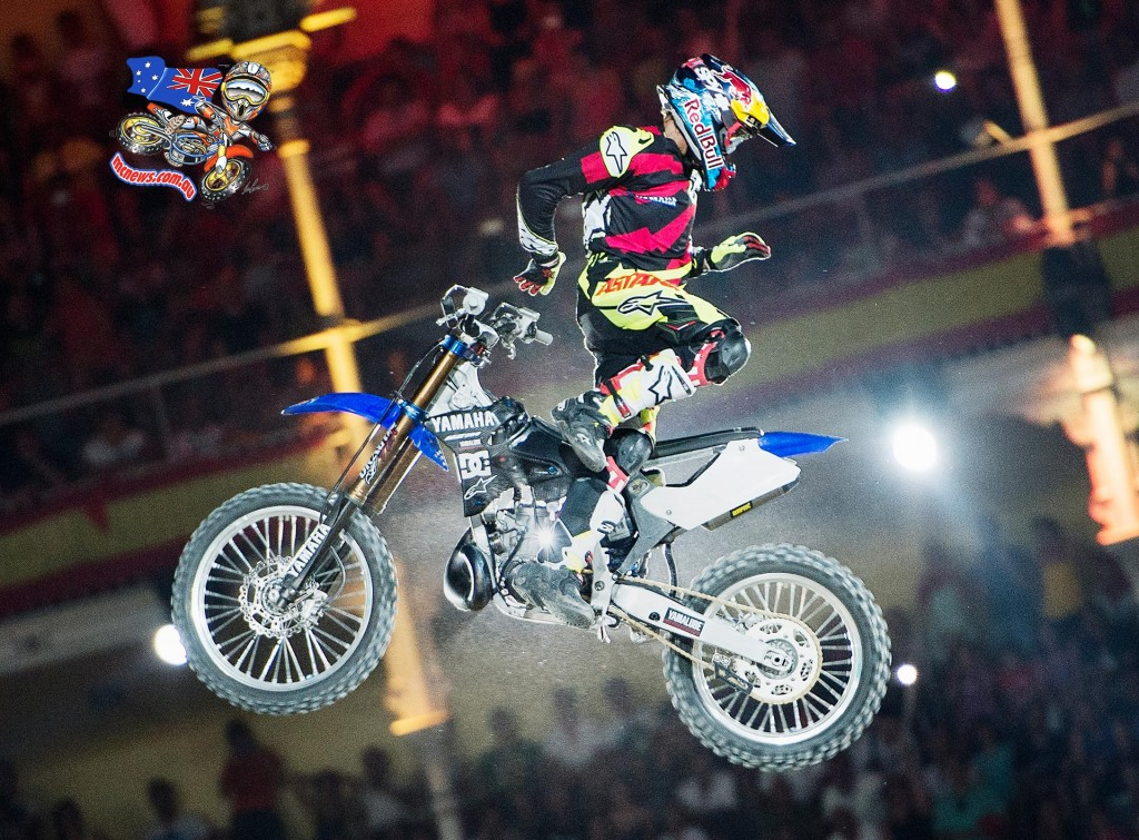 Tom Pagès of France performs during the finals of the third stage of the Red Bull X-Fighters World Tour at the Plaza de Toros de Las Ventas in Madrid, Spain on July 10, 2015.