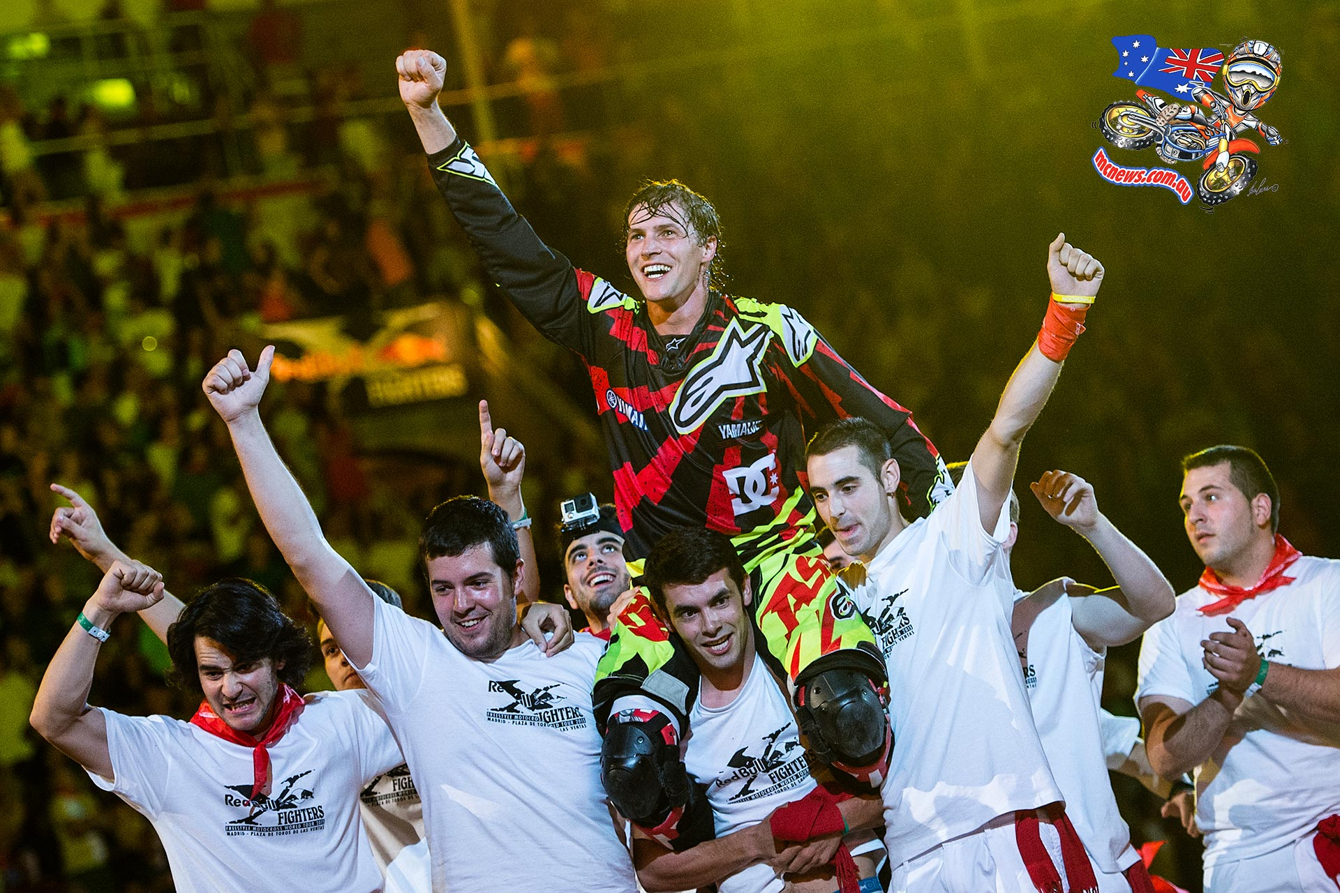 Tom Pagès of France celebrates his victory during the finals of the third stage of the Red Bull X-Fighters World Tour at the Plaza de Toros de Las Ventas in Madrid, Spain on July 10, 2015.