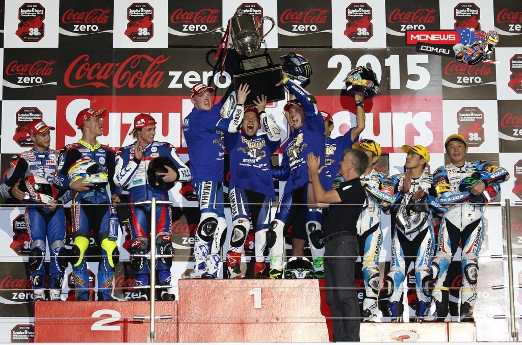 Katsuyuki Nakasuga and Pol Espargaro with Bradley Smith win Suzuka 8 Hours 2015