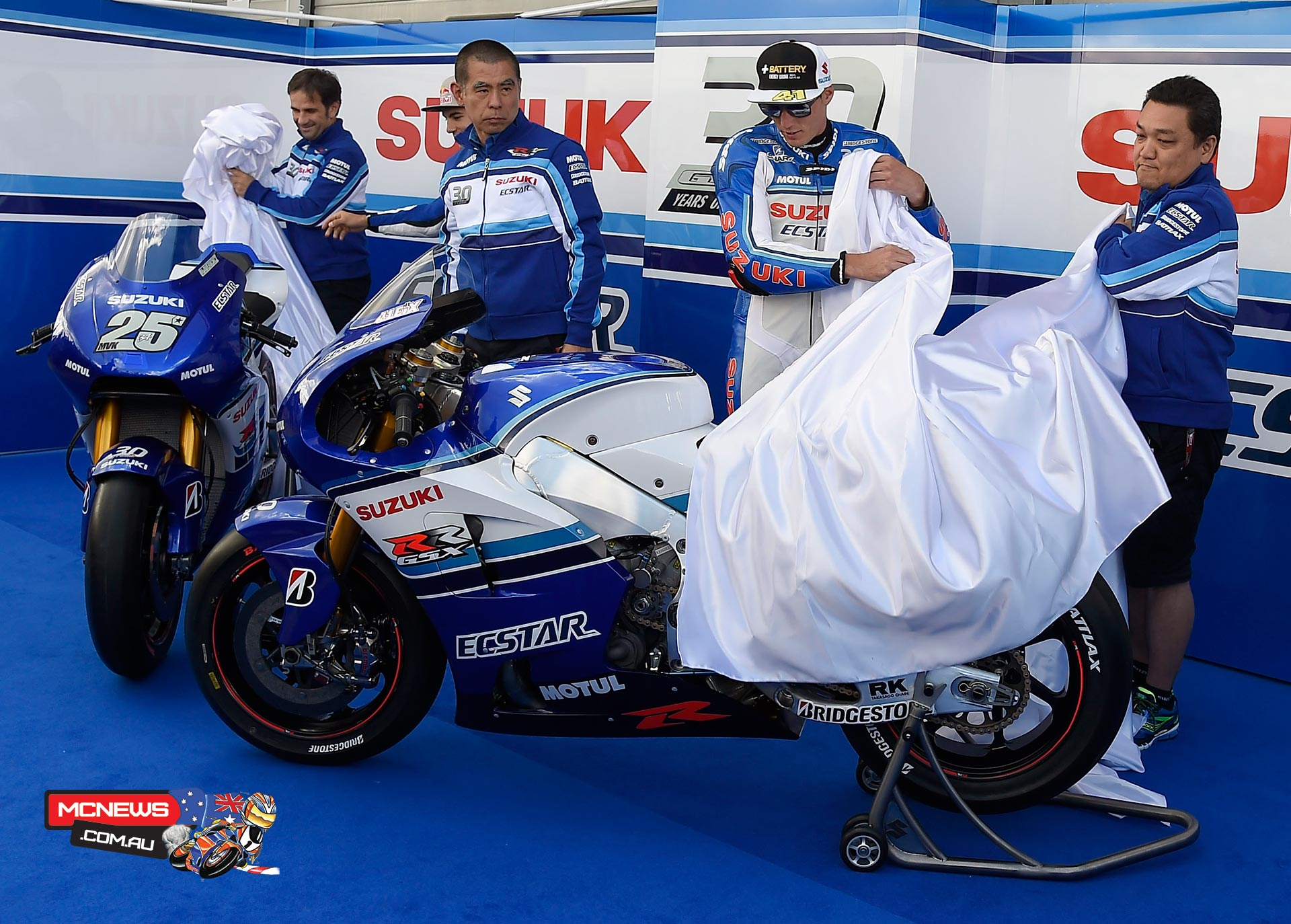 Team Suzuki MotoGP celebrate the 30th Anniversary of the Suzuki GSX-R machine at Sachsenring MotoGP 2015