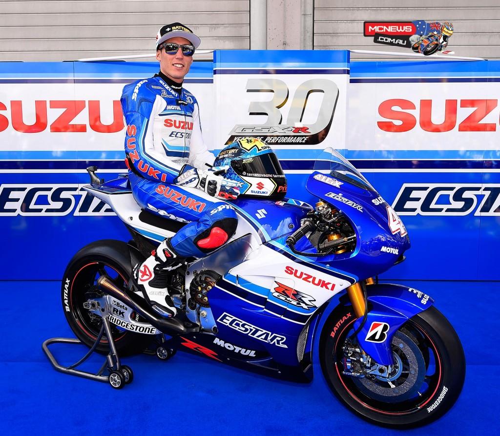 Team Suzuki MotoGP celebrate the 30th Anniversary of the Suzuki GSX-R machine at Sachsenring MotoGP 2015 - Aleix Espargaro