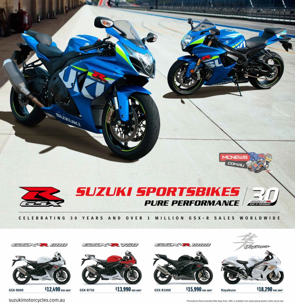 This year marks 30 years of performance for the iconic Suzuki GSX-R sportsbike. To celebrate this milestone Suzuki is offering special ride away prices on its entire GSX-R line-up and Hayabusa*