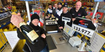 Pictured is (l-r): Ian Hutchinson, Dan Kneen, Glenn Thompson, Sales Operations Manager for Lidl in the North West, Bruce Anstey, Lee Johnston, and Noel Johnston, Clerk of the course at the Metzeler Ulster Grand Prix.