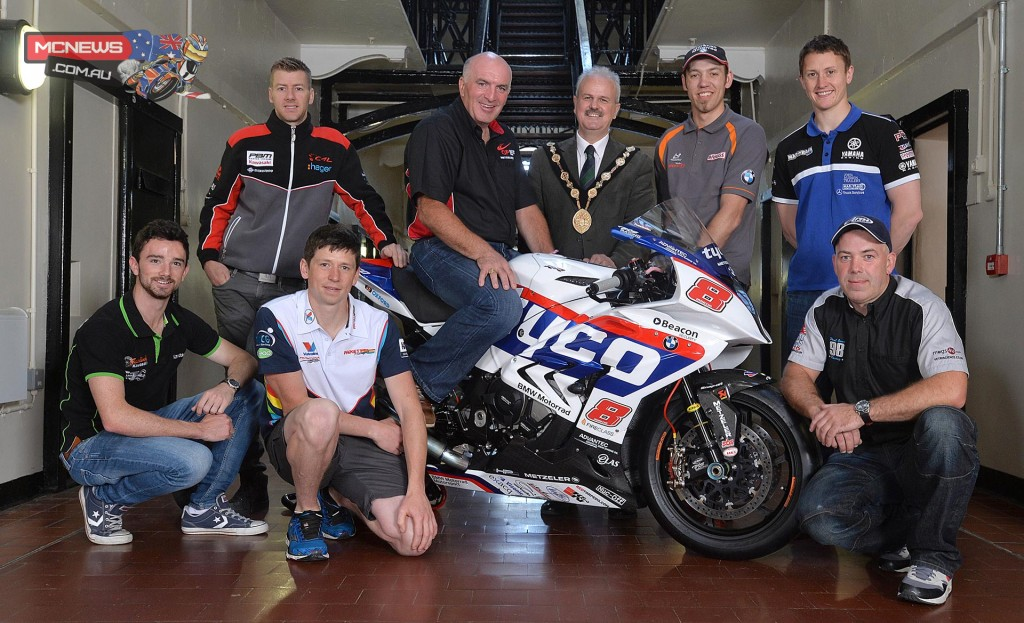 Ulster GP 2015 - Pictured is (back row, l-r): Ian Hutchinson, Noel Johnston, Clerk of the Course at the Metzeler Ulster Grand Prix, Cllr Thomas Beckett, Mayor of Lisburn & Castlereagh City Council, Peter Hickman and Dean Harrison. (Front row l-r): Glenn Irwin, Dan Kneen and Paul Owen.