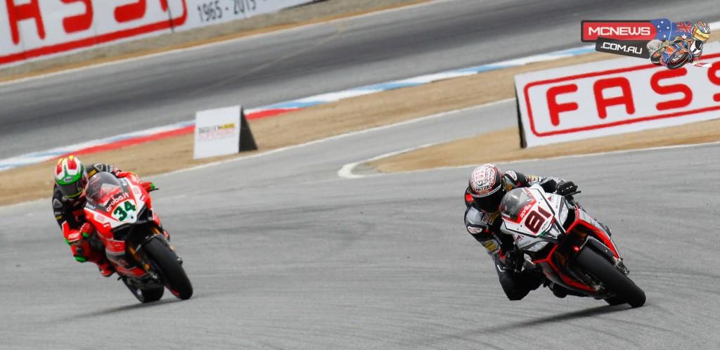 World SBK 2015 - Laguna Seca - Jordi Torres leads Davide Giugliano