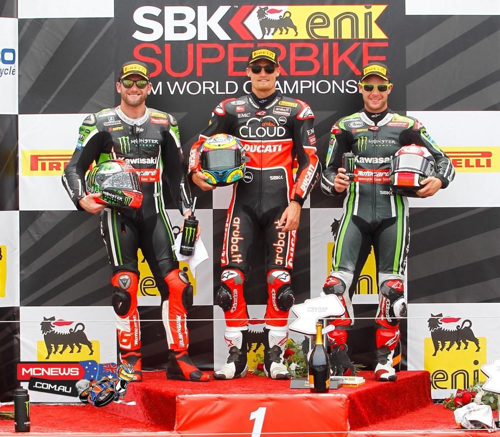 World SBK 201 - Laguna Seca - Superbike Podium - 2. Tom Sykes (GBR)  1 - Chaz Davies (GBR)   3 - Jonathan Rea (GBR)