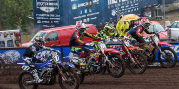 Christian Craig (68) pulled the holeshot in the first moto, but a fall knocked him out of the lead a few laps later. (Photo: George Crosland)