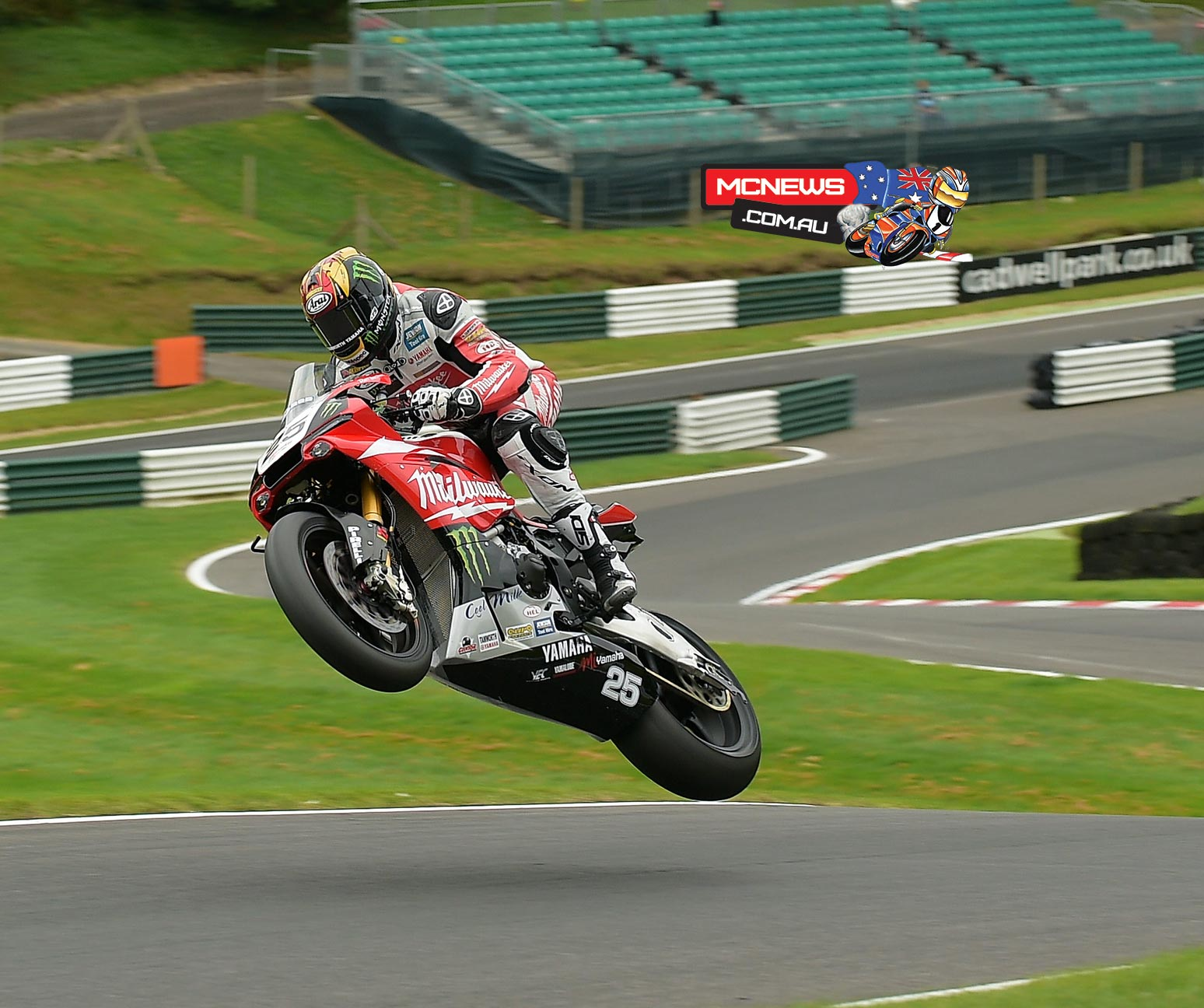 Josh Brookes leaps the Mountain at Cadwell Park