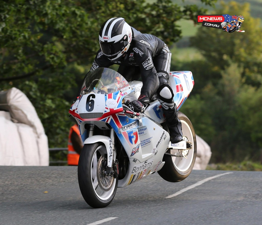 William Dunlop riding the National Motorcycle Museum rotary Norton during the Friday Classic TT Qualifying session