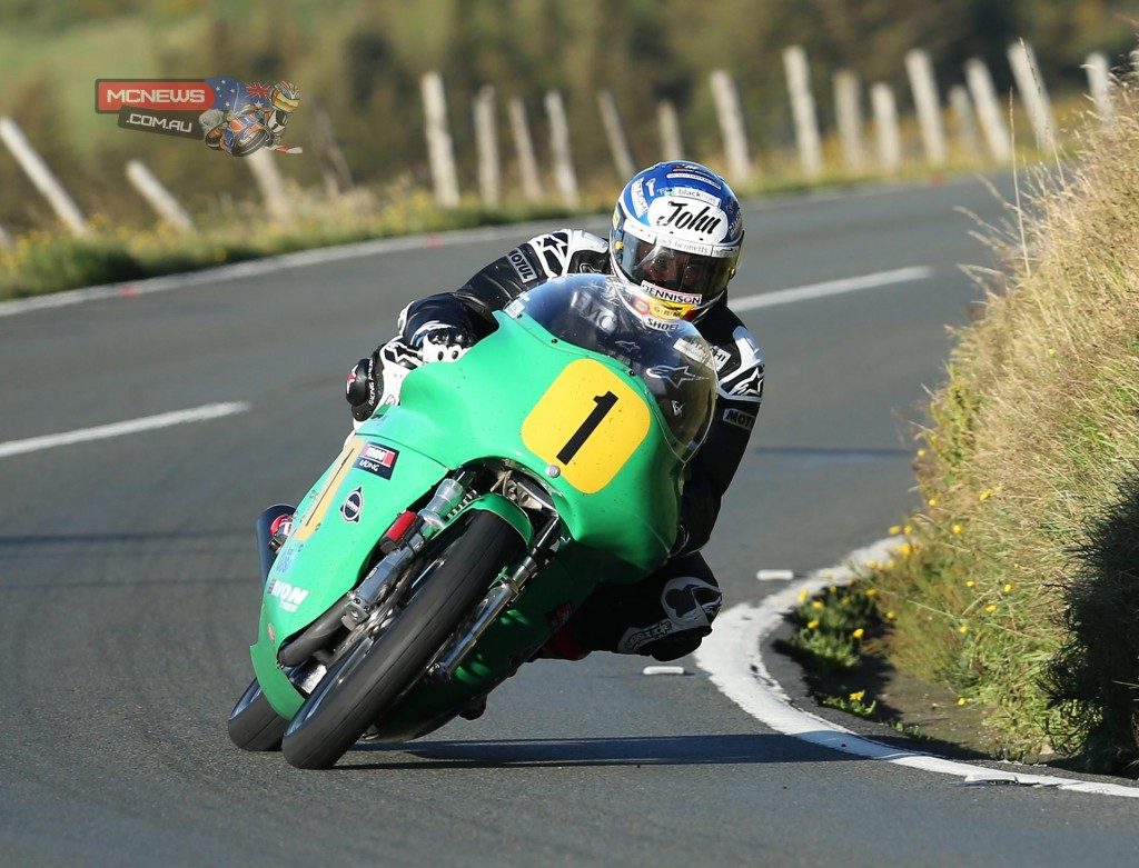 John McGuinness riding the Winfield Paton 500cc twin during Thursday's Classic TT qualifying session