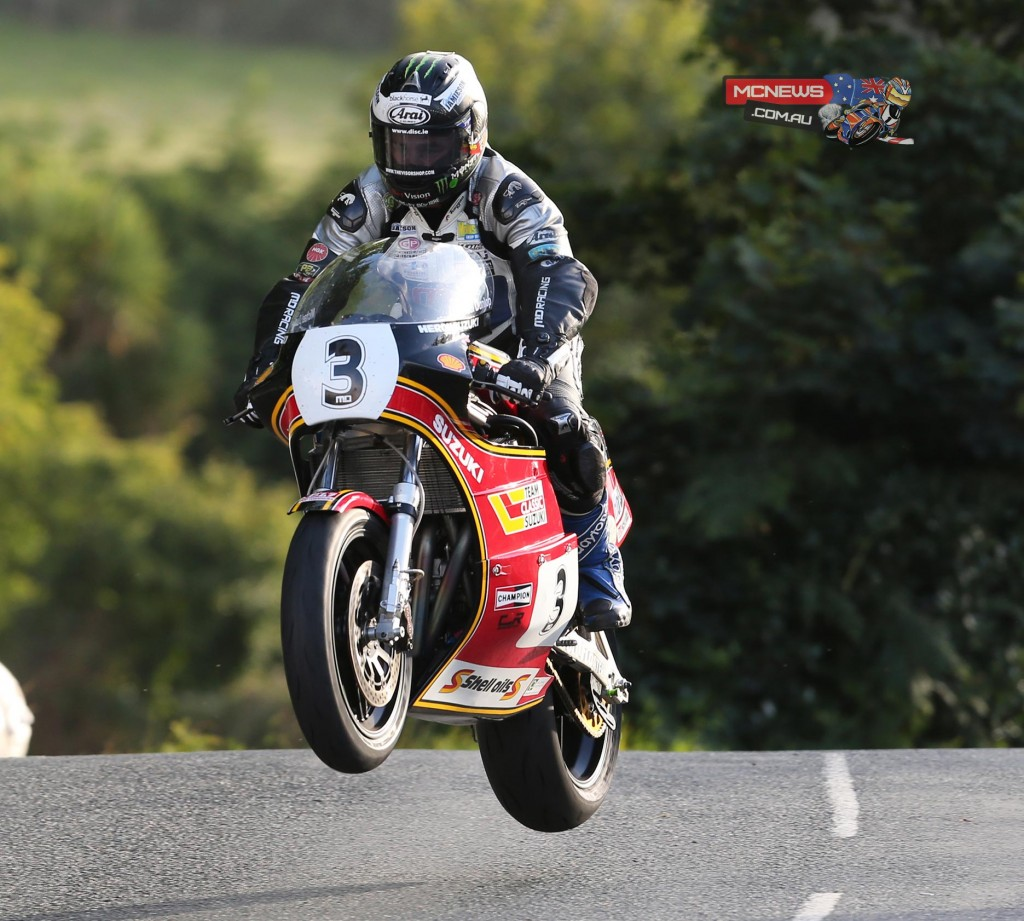 Michael Dunlop flying over Ballaugh Bridge during the curtailed Wednesday practice session