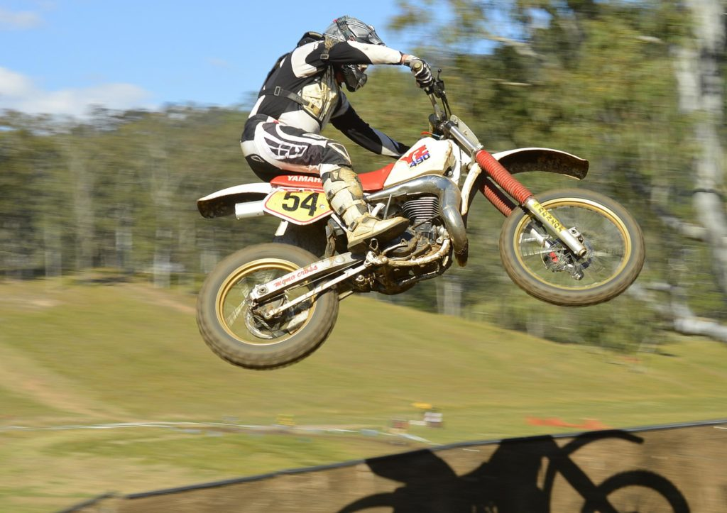 Darren Smart flying high on a YZ490 at the Conondale Classic