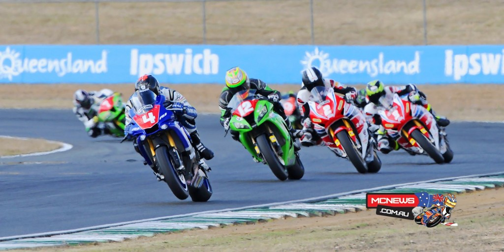 FX-ASC 2015 Rnd Four - QLD Raceway - Glenn Allerton leads Matt Walters, Jamie Stauffer and Troy Herfoss