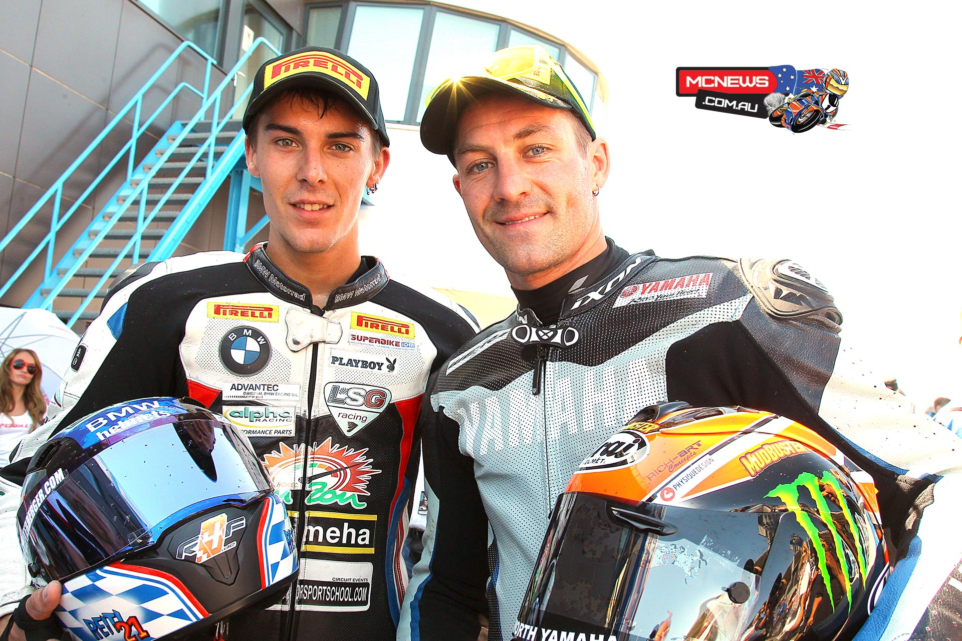 Newly crowned 2015 IDM German Superbike Champion Markus Reiterberger (BMW) and Josh Brookes (Yamaha)