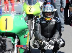 John McGuinness just before starting the 500cc race at Classic TT 2014 on the Winfield Paton. Credit Stephen Davison Pacemaker Press Intl.