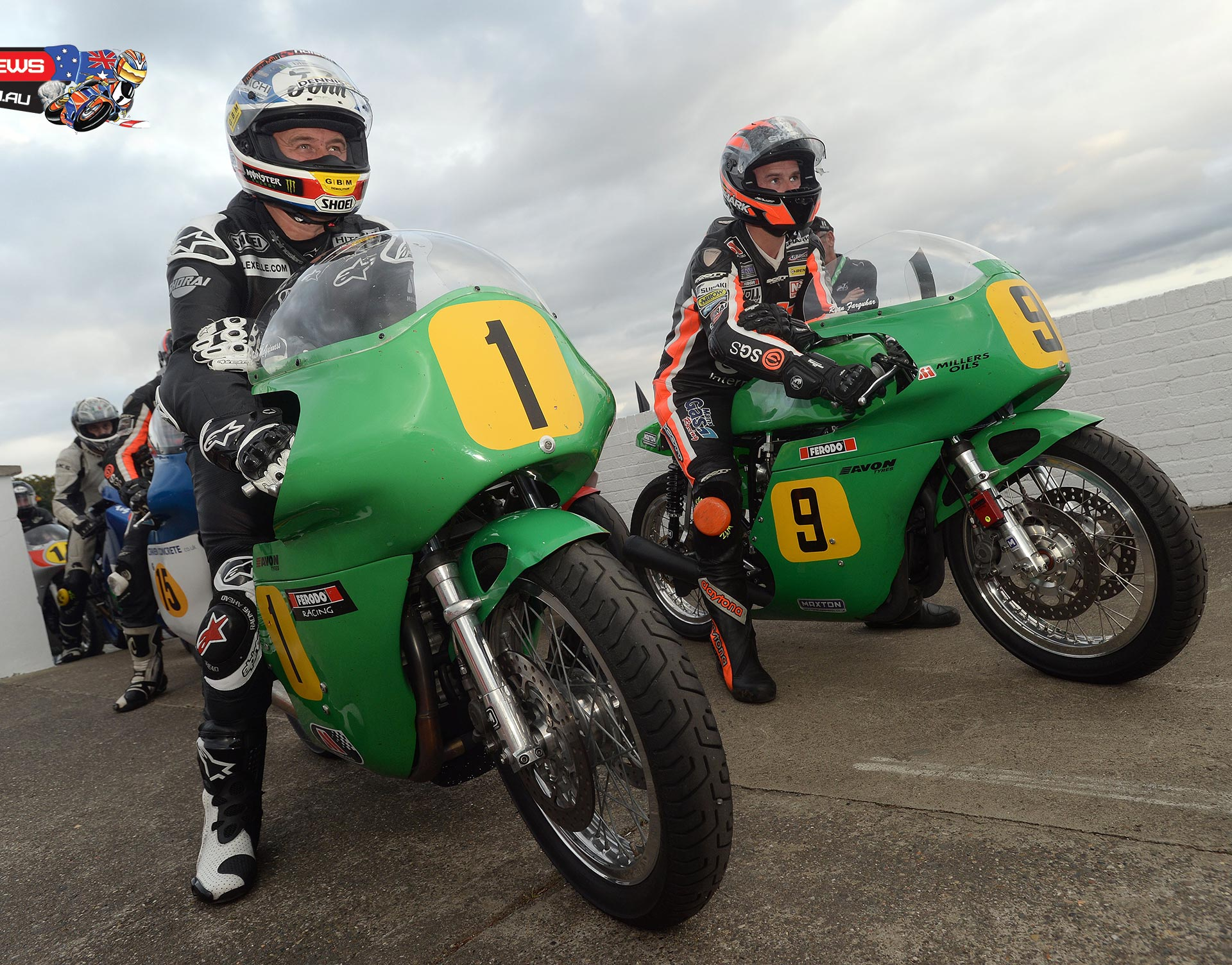John McGuinness and Ryan Farquhar about to start a qualifying session at Classic TT 2014 on the Winfield Patons. Credit Stephen Davison Pacemaker Press Intl