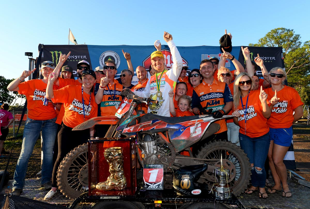 KTM Factory team rider Kirk Gibbs and his team and supporters enjoy the ecstacy of MX Nationals victory.