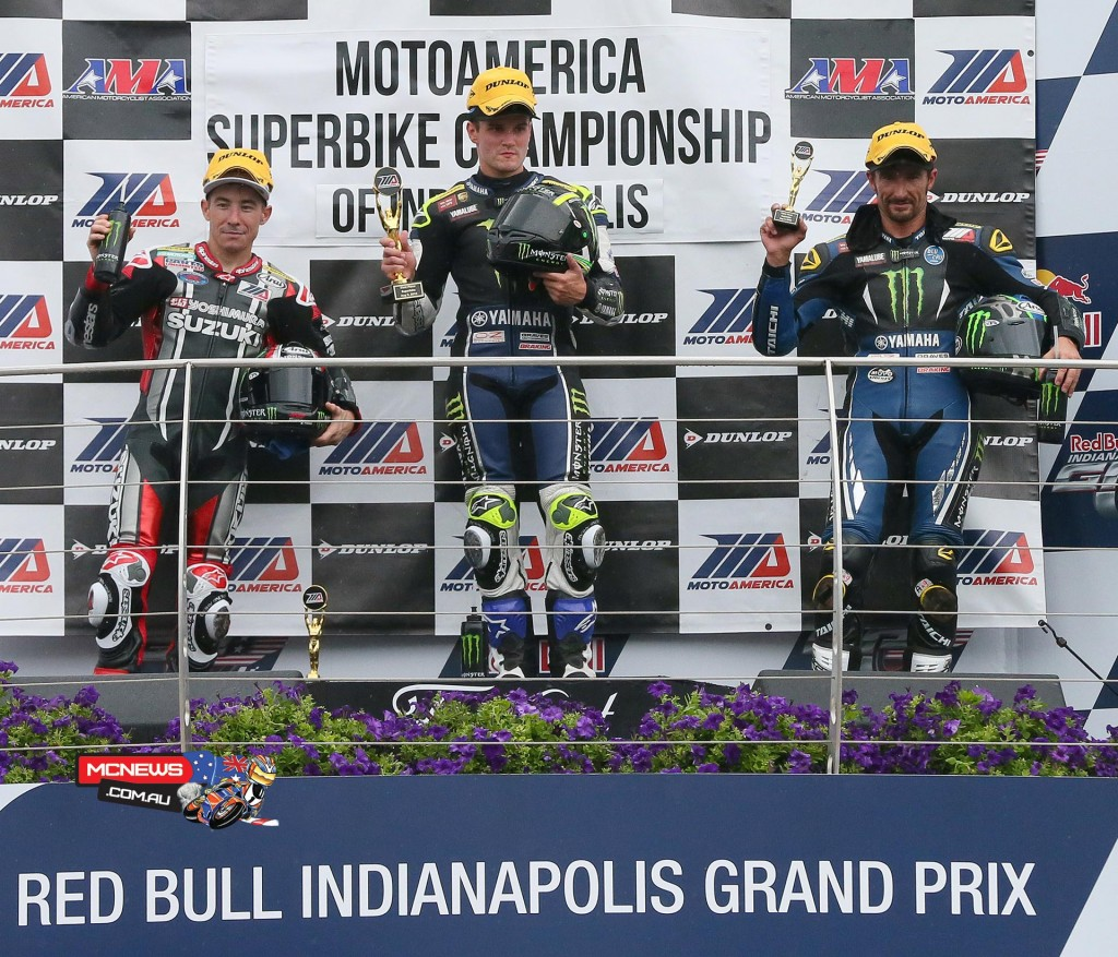 MotoAmerica - Indy Superbike - (From left to right) Hayden, Beaubier and Hayes celebrate their one-two-three finish on the MotoAmerica podium. Photography by Brian J. Nelson.