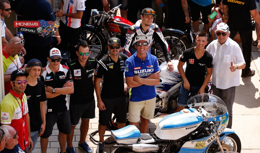 Several MotoGP riders with the vintage bikes and Phil Read
