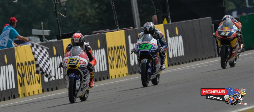 Ongetta-Rivacold's Niccolo Antonelli claimed his maiden Moto3 victory in a exhilarating 12–lap race after the original was red flagged