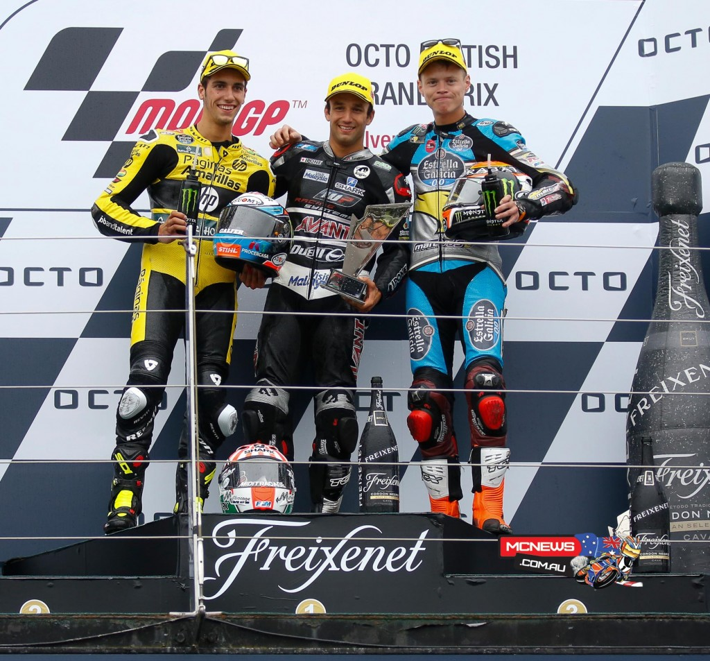 MotoGP 2015- Silverstone - Moto2 Podium - Johann Zarco extends his championship lead after a commanding race win in the wet, with Alex Rins and Tito Rabat completing the podium.