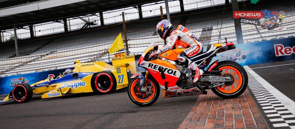 Brickyard hosts epic showdown between a MotoGP bike and an IndyCar