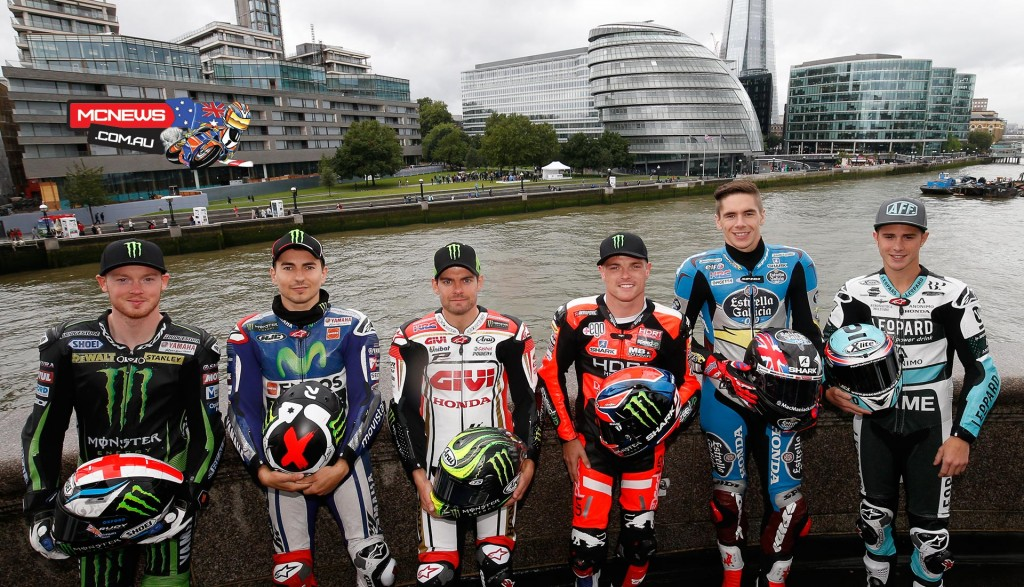 MotoGP riders pose in front of London's River Thames
